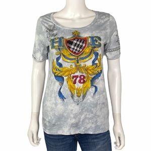 Cabi Grey White Royal Crest T Shirt Size M